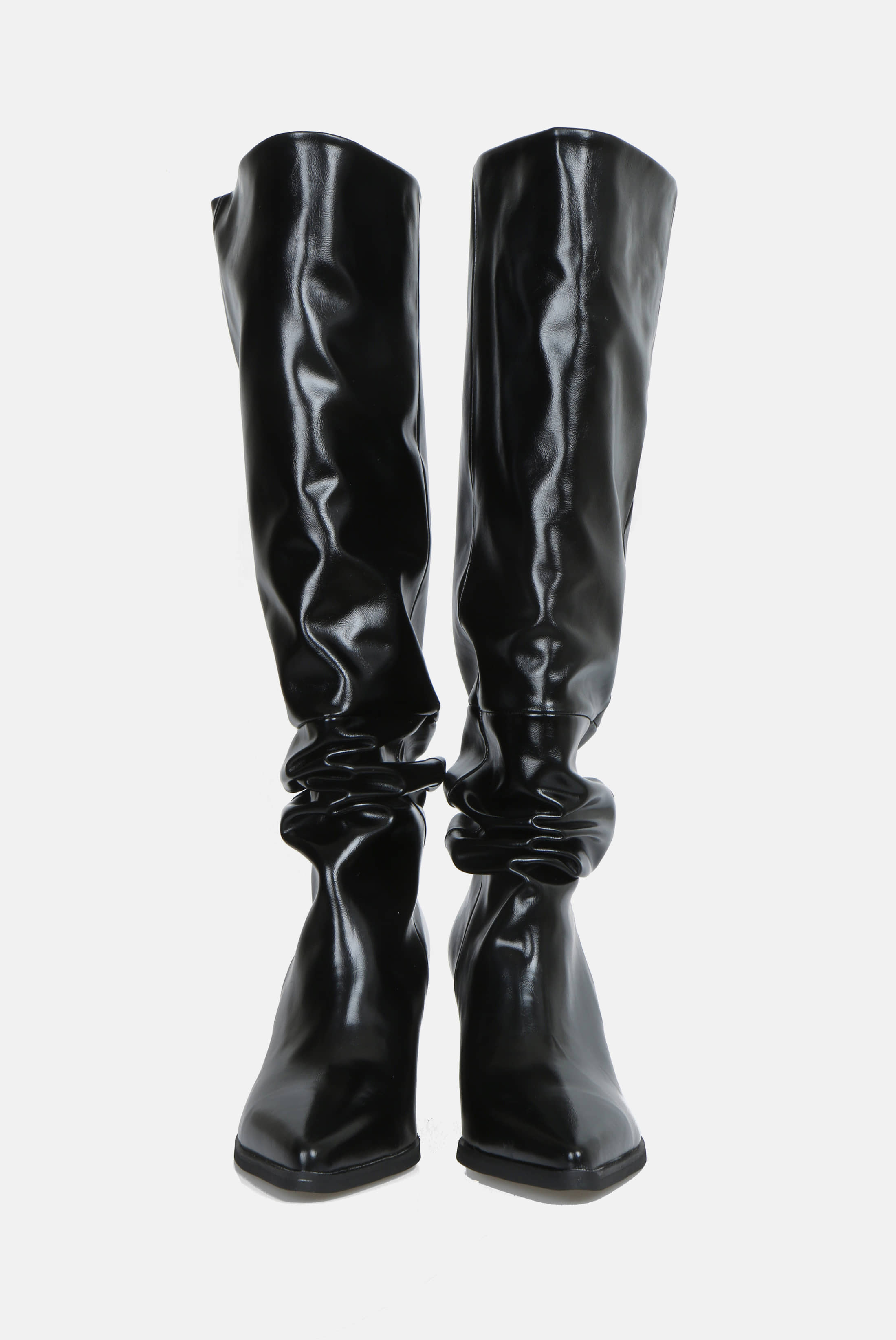(W) Soft Light_Leather Wrinkle Long_Boots