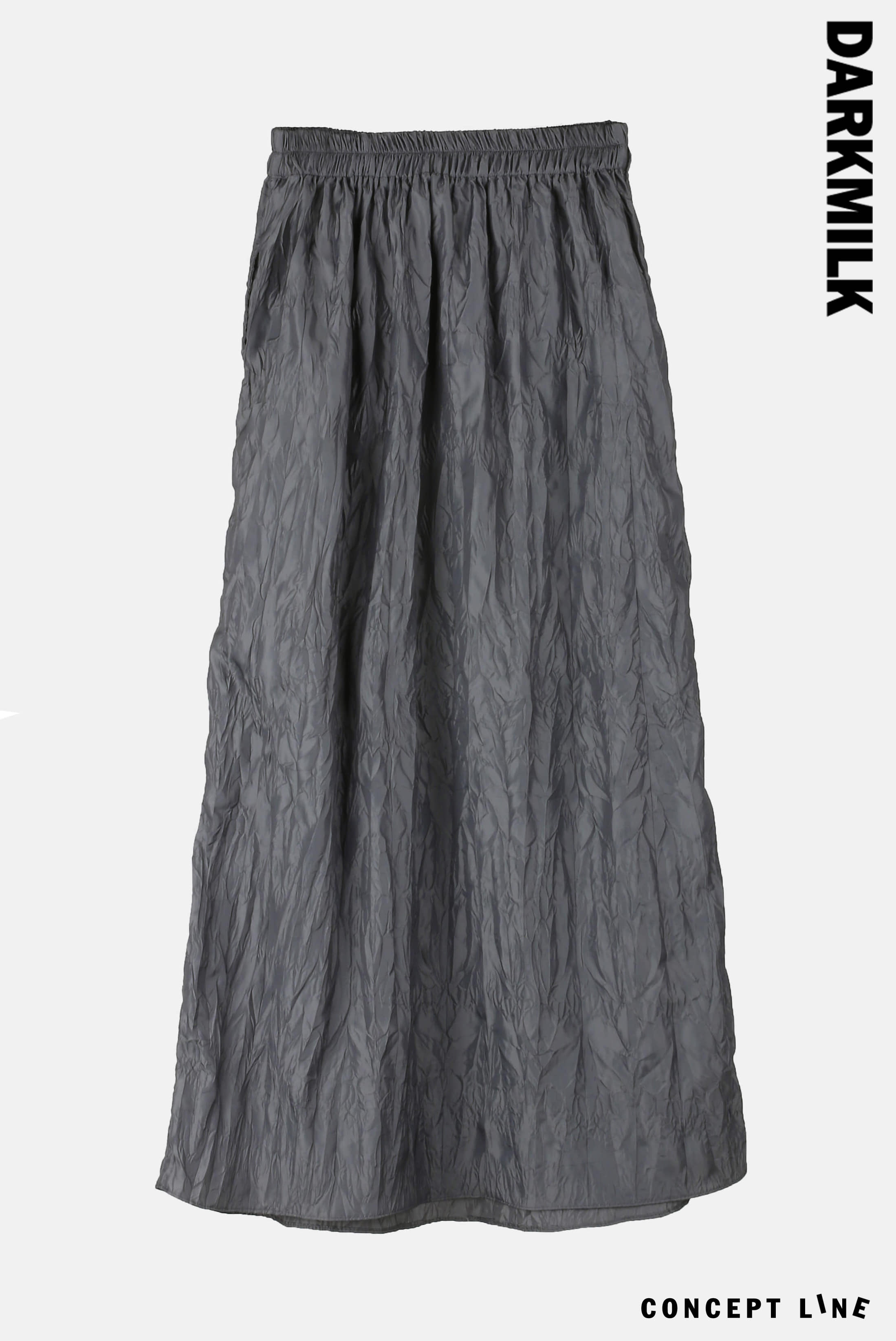 [Concept] Nylon Wrinkle_Long Skirt [Gray]