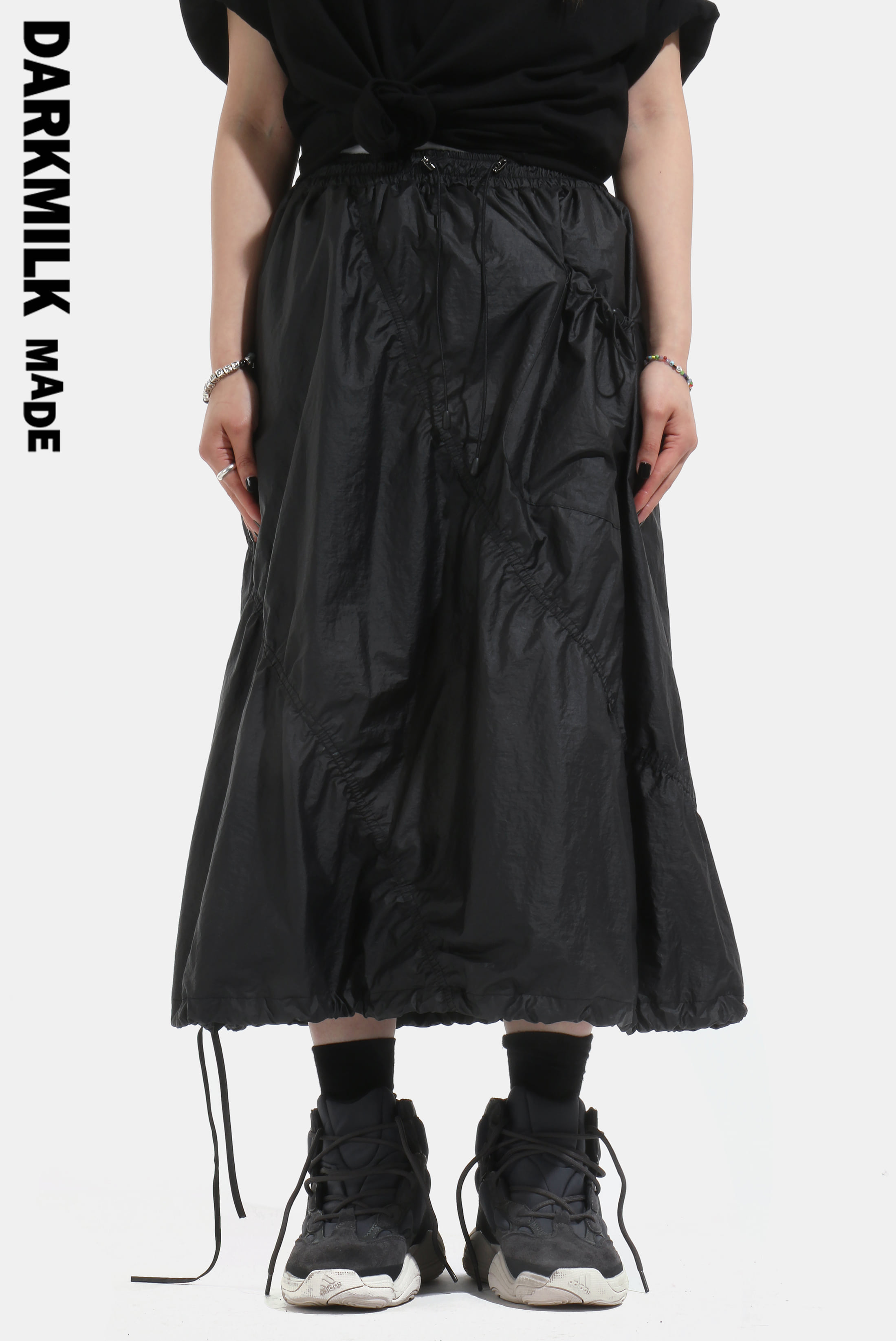 [MADE] Curve_Shirring Cotied Skirt [BLACK]