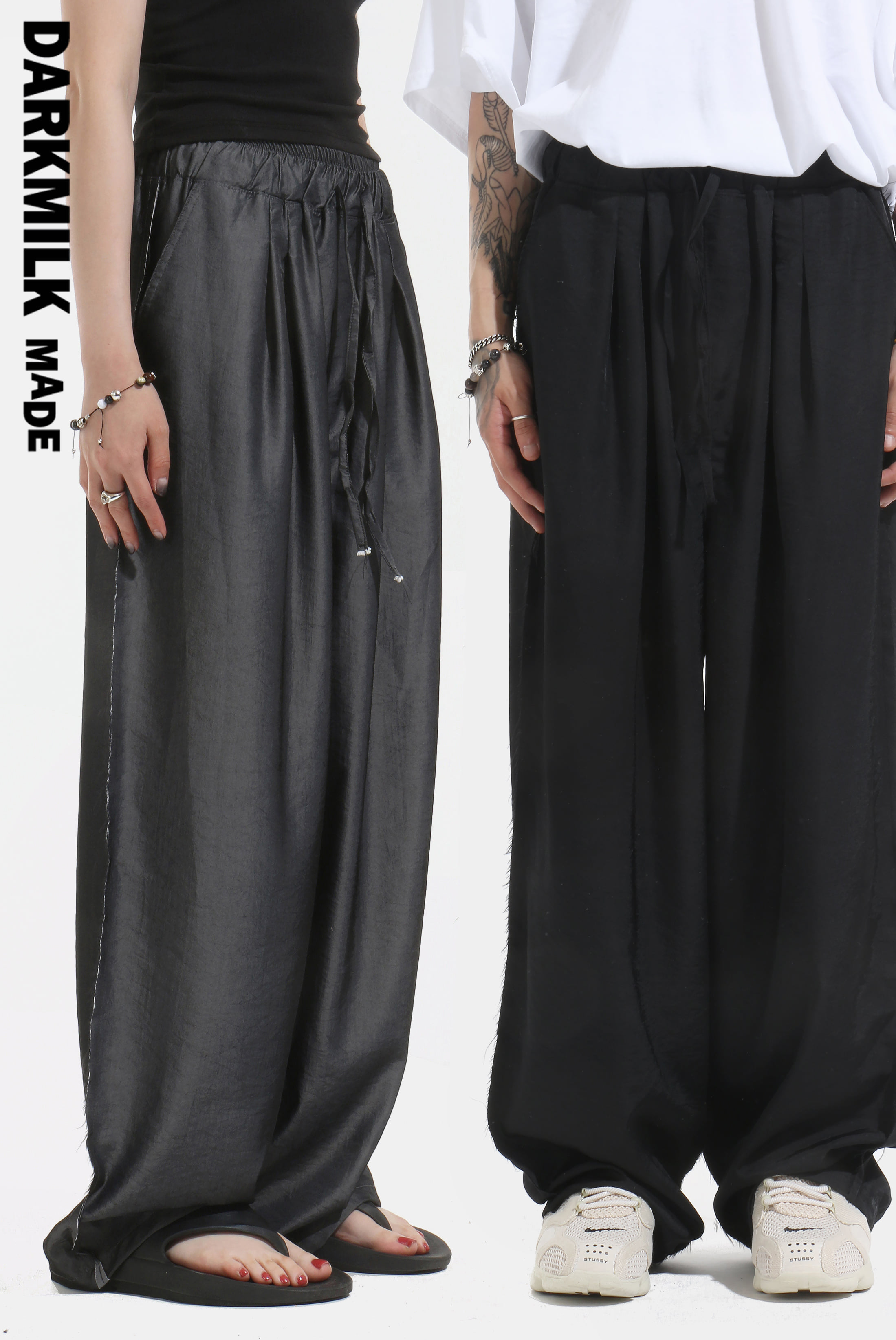 [MADE] Satin Raw_Edge Wide Pants
